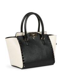 Valentino - Black Rockstud Bicolor Shopper Tote Bag - Lyst