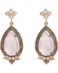 Sara Weinstock | White Diamond & Rose Quartz Drop Earrings | Lyst