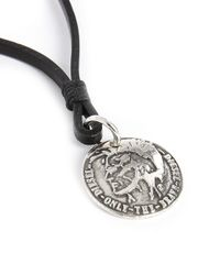 DIESEL | Black Atal Indian Head Leather/silver Medallion Necklace for Men | Lyst
