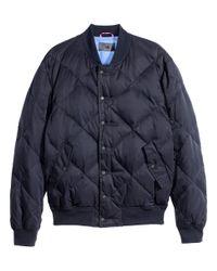 H&M Blue Quilted Bomber Jacket for men