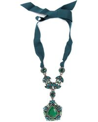 Lanvin Green Crystal Ribbon Necklace