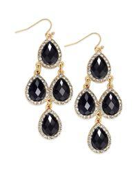 INC International Concepts - 14k Goldplated Black Pave Teardrop Chandelier Earrings - Lyst