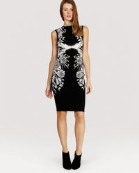 Karen Millen | Black Dress - Geometric Jacquard Knit | Lyst