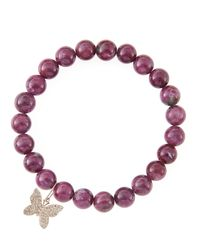 Sydney Evan | Red 8Mm Natural Ruby Beaded Bracelet With 14K Gold/Diamond Small Butterfly Charm (Made To Order) | Lyst