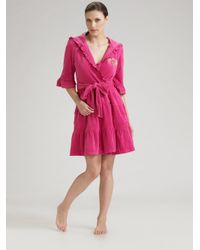 Juicy Couture | Pink Hooded Ruffled Terry Robe | Lyst