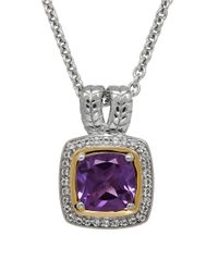 Lord & Taylor - Multicolor Amethyst, White Topaz, Sterling Silver And 14k Yellow Gold Pendant Necklace - Lyst