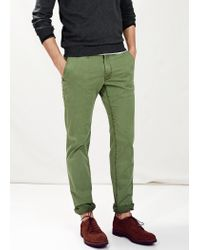 Mango - Green Slim-Fit Garment-Dyed Chinos for Men - Lyst