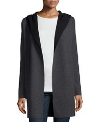 Neiman Marcus | Gray Hooded Wool Cardigan | Lyst