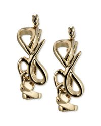 RACHEL Rachel Roy | Metallic Goldtone Love Script Hoop Earrings | Lyst