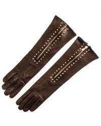 Black.co.uk Brown Studded Mocha Long Leather Gloves Description Delivery & Returns Reviews