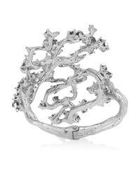 Alexander McQueen - Metallic Silver-Plated Swarovski Crystal Cuff - Lyst