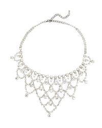Kenneth Jay Lane - Metallic Silver And Crystal Bib Necklace - Lyst