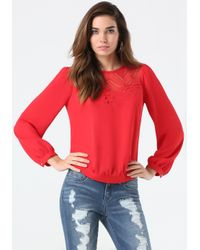 Bebe - Embroidered Flower Top - Lyst