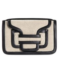Pierre Hardy Black Alpha Leather and Linen Shoulder Bag