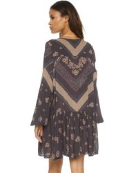 Free People Blue From Your Heart Print Dress - Midnight Combo