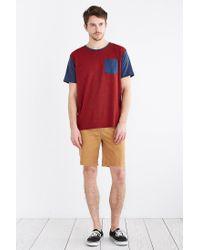 BDG - Red Tri-blend Colorblocked Pocket Standard-fit Tee for Men - Lyst