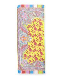 Etro - Yellow Deli Birds & Paisley-Print Scarf - Lyst