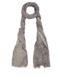 Stella McCartney Gray Light Grey Python Print Scarf