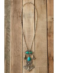 Forever 21 Blue Raga Longline Faux Turquoise Necklace
