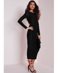 Missguided - Long Sleeve Lace Up Back Midi Dress Black - Lyst