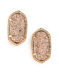 Kendra Scott | Metallic 'ellie' Oval Stone Stud Earrings | Lyst