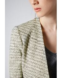 TOPSHOP Green Tailored Crop Boucle Jacket