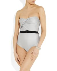 Zimmermann Gray Oasis Ruched Swimsuit