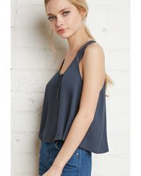 Forever 21 - Blue Buttoned Racerback Top - Lyst