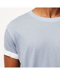 River Island Light Blue Faded Cube Print T-shirt for men