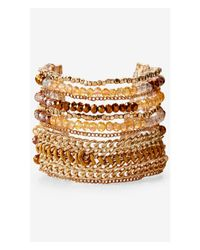 Express | Metallic Wide Mixed Faceted Bead And Chain Bracelet | Lyst