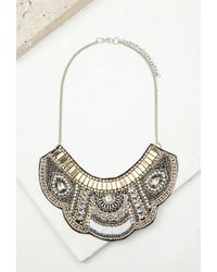 Forever 21 - Metallic Beaded Faux Gem Bib Necklace You've Been Added To The Waitlist - Lyst