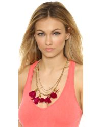 Serefina Metallic Dancing Feathers Necklace - Cherise