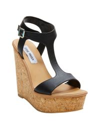 Steve Madden Black Iluvit Wedge Sandals