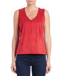 DKNY   Red Sleeveless V-neck Top   Lyst