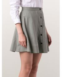 Carven Green Gingham Skirt