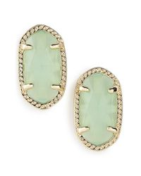 Kendra Scott | Metallic 'ellie' Oval Stone Stud Earrings - Chalcedony/ Gold | Lyst