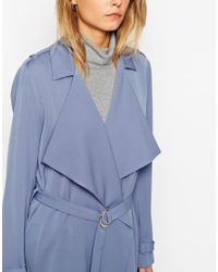 ASOS | Blue Trench With Waterfall Front And D Ring Detail | Lyst