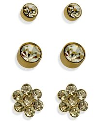 Guess | Metallic Gold-tone Crystal Stud Earring Set | Lyst