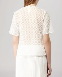 Reiss White Top - Cubist Sheer Embroidered