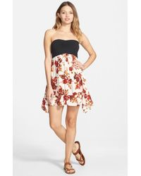 Volcom Multicolor 'defiant One' Strapless Babydoll Dress