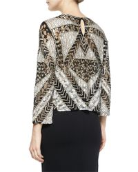 Parker | Gray Mixed-lace Highland Beaded Top | Lyst