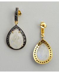 Amrapali - Black Rainbow Moonstone and Diamond Teardrop Earrings - Lyst