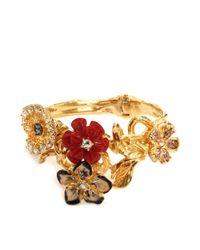 Alexander McQueen | Metallic Cherry Blossom Flowers Bracelet | Lyst