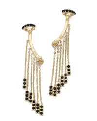 Noir Jewelry - Metallic Tassel Earrings - Black/gold - Lyst
