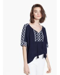 Mango Blue Embroidered Cotton Blouse