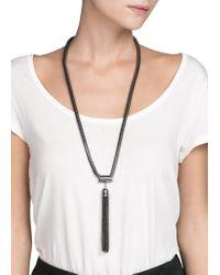 Mango - Black Tassel Pendant Necklace - Lyst