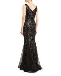 David Meister - Black Sleeveless Floral Beaded Godet Gown - Lyst