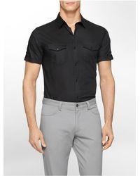 Calvin Klein - Black White Label Classic Fit Tonal Stripe Twill Cotton Dobby Short Sleeve Shirt for Men - Lyst