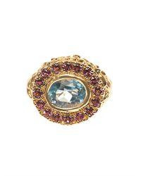 Jade Jagger Blue Aquamarine Ruby Yellowgold Ring