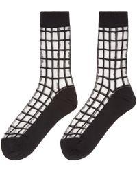 Y's Yohji Yamamoto Black Sheer Check Socks for men